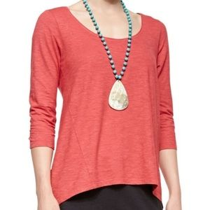 Eileen Fisher // Coral 3/4 Sleeve Hemp Cotton Top